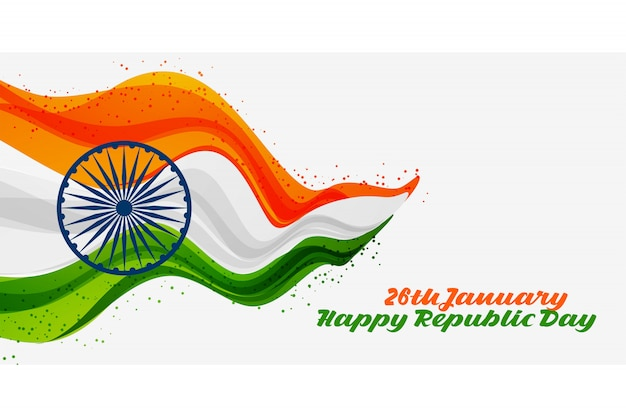 26th january happy republic day of india background Free Vector