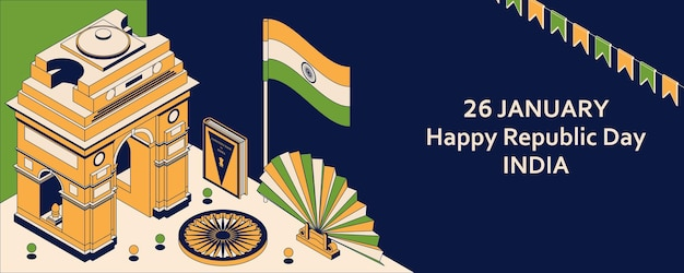 26th of january india republic day. greeting card in isometric style with indian gates. Premium Vector