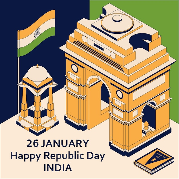 26th of january india republic day. greeting card in isometric style with indian gates Premium Vector