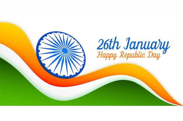 26th january indian flag design for republic day Free Vector
