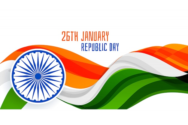 26th january republic day wavy flag banner concept Free Vector