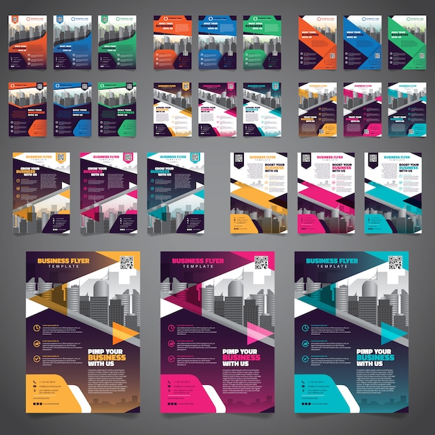 ビジネスパンフレットチラシデザインレイアウトテンプレートの27バンドル Premiumベクター