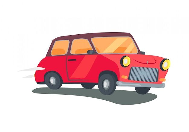 赤いレトロな2ドアステーションワゴンのアイコン Premiumベクター