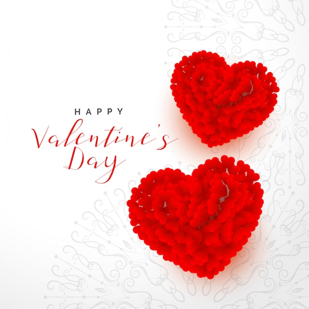 バレンタインデー2つの赤いバラの心と美しい背景 無料ベクター
