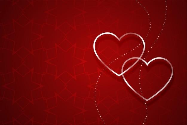 赤いバレンタインデーの背景に2つのシルバーハート 無料ベクター