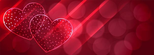 ロマンチックな2つの光沢のある心ボケバナーの背景 無料ベクター