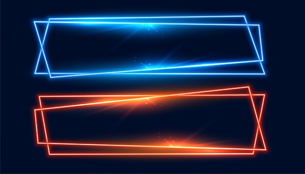 青とオレンジ色の2つの広いネオンフレームバナー 無料ベクター