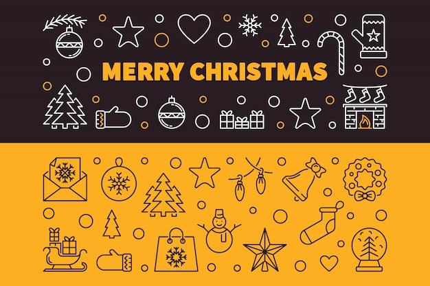 Счастливого рождества 2 наброски баннеров. векторная иллюстрация рождество Premium векторы