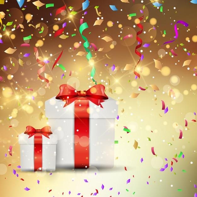 誕生日のための2つの素敵な贈り物明るい背景 無料ベクター