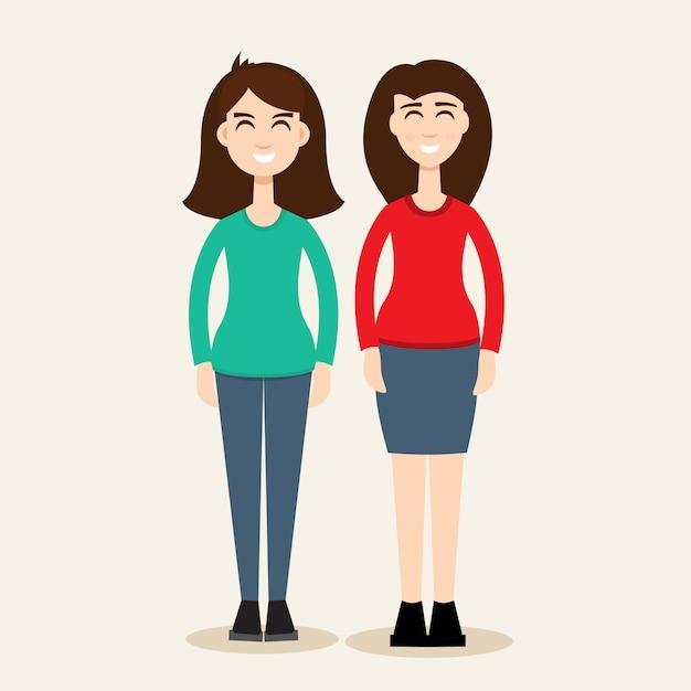 2人の姉妹の図。二人の姉妹 Premiumベクター