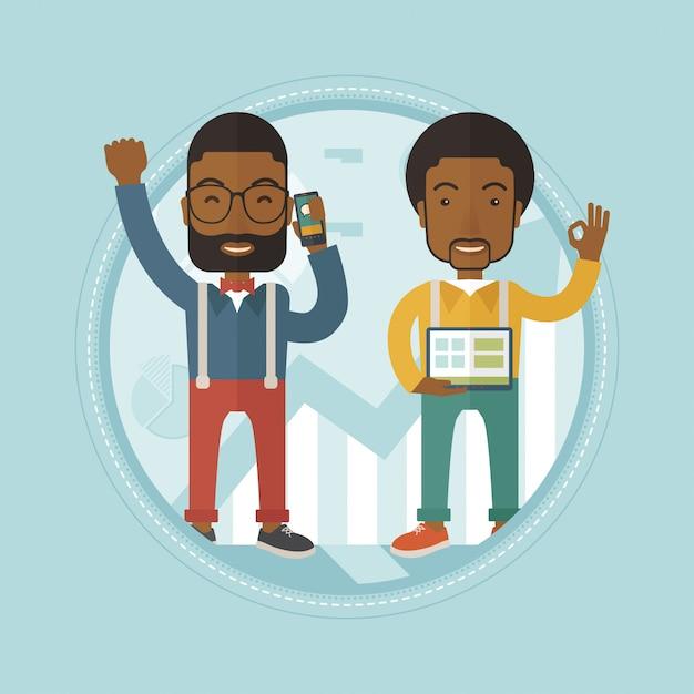 ビジネスの成功を祝う2人のビジネスマン Premiumベクター