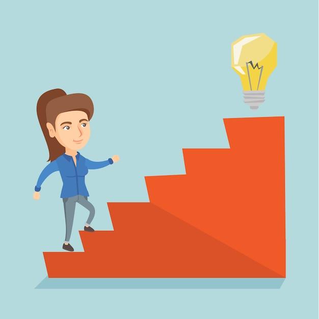 アイデア電球に2階を歩く実業家。 Premiumベクター