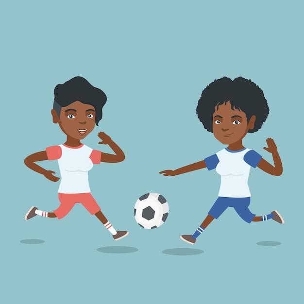 ボールのために戦う2人のアフリカのサッカー選手。 Premiumベクター