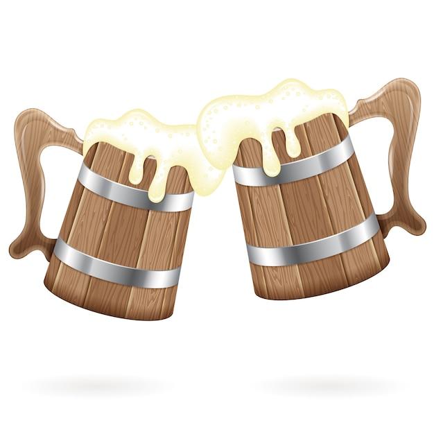 ビールと2つの木製マグカップ Premiumベクター