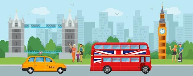 ロンドンイギリス観光旅行と人々観光客のイラスト。ロンドンのタワーブリッジ、ビッグベン、2階建ての赤いバス、タクシーのランドマークとシンボル。 Premiumベクター