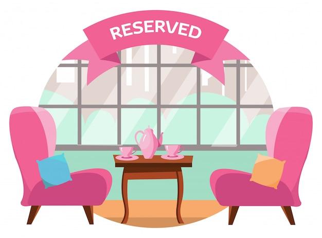 街を見下ろすパノラマの窓の近くに二人でカフェで素敵なテーブル。テーブルにはピンクのカップとポットが2つあります。テーブルは予約されています。フラット漫画のベクトル図 Premiumベクター