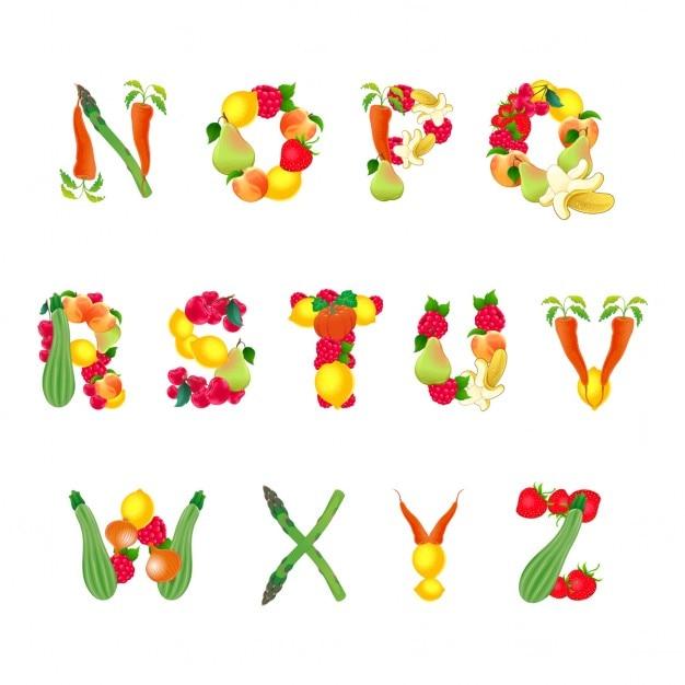 果物や野菜第2の部分のベクトル分離された要素によって構成されるアルファベット 無料ベクター