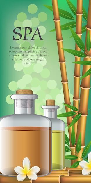 スパレタリング、花、竹、オイル入り2本。スパサロン広告ポスター 無料ベクター