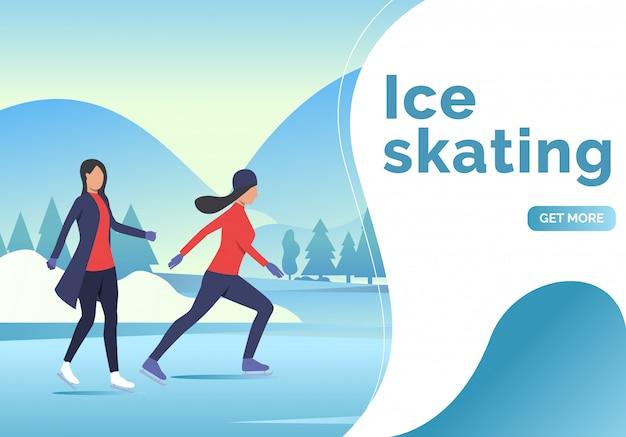 アイススケートのレタリング、2人のスケーターの女性と雪の風景 無料ベクター