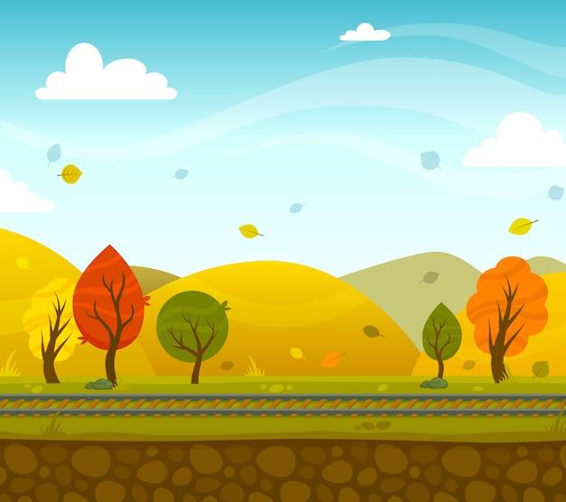 Игра 2д парк пейзаж Бесплатные векторы