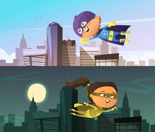 漫画の男の子と女の子の置物を着た子供スーパーヒーロー2つの平らな水平方向のバナー 無料ベクター