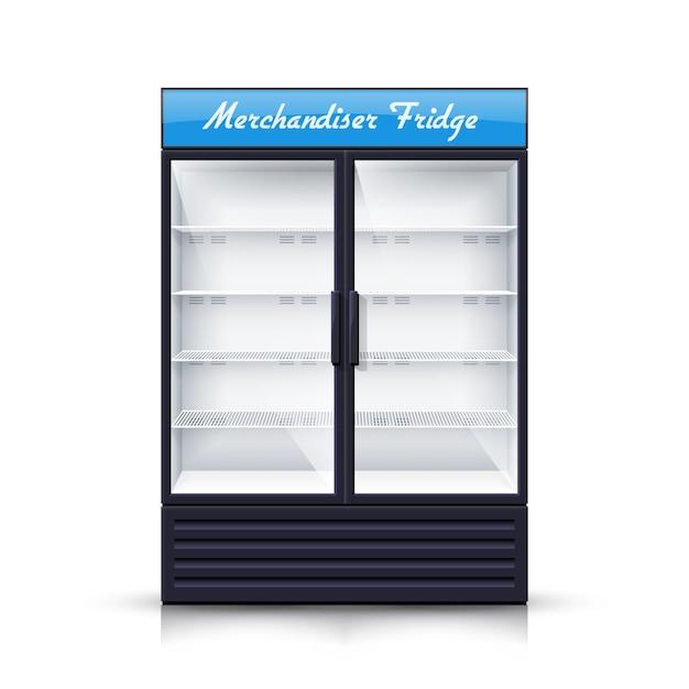 2つのパネルの空の冷蔵庫のリアルなイラスト 無料ベクター