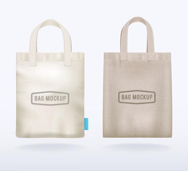 2つのモダンな天然キャンバスモックアップショッピングバッグ現実的なテンプレート 無料ベクター