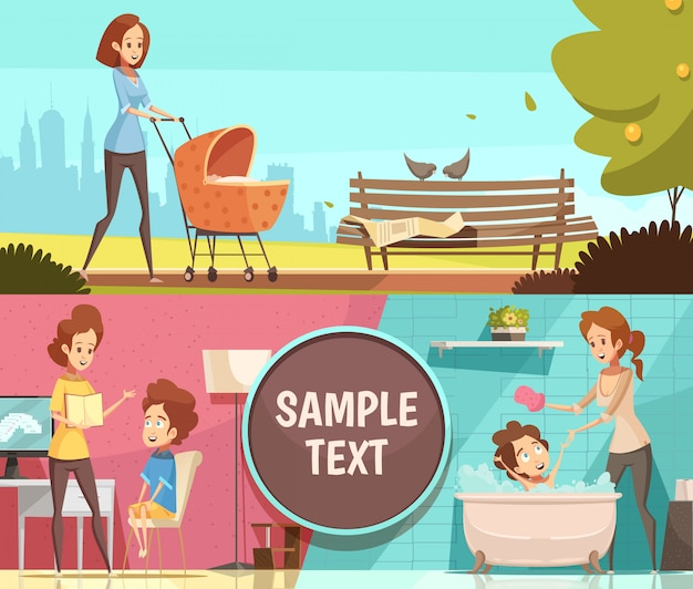 Материнство повседневной деятельности 2 ретро мультфильм горизонтальные баннеры с ходьбой на открытом воздухе с коляской, изолированных векторная иллюстрация Бесплатные векторы