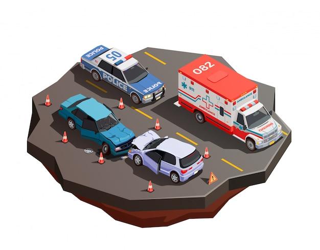 救急車とパトカーのイラストとの衝突後の2つの壊れた車と公共都市輸送等尺性組成物 無料ベクター