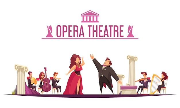 オペラ劇場プレミアアナウンスフラット漫画2人の歌手アリアパフォーマンスとステージ上のミュージシャン 無料ベクター