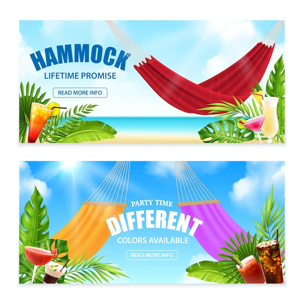 生涯の約束とパーティータイム異なる色利用可能な説明ベクトルイラスト入り2つの水平現実的なハンモック熱帯バナー 無料ベクター