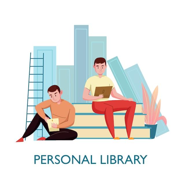 Личная виртуальная библиотека плоская композиция с 2 молодыми людьми, сидящими на книгах и читающими электронные тексты, векторная иллюстрация Бесплатные векторы