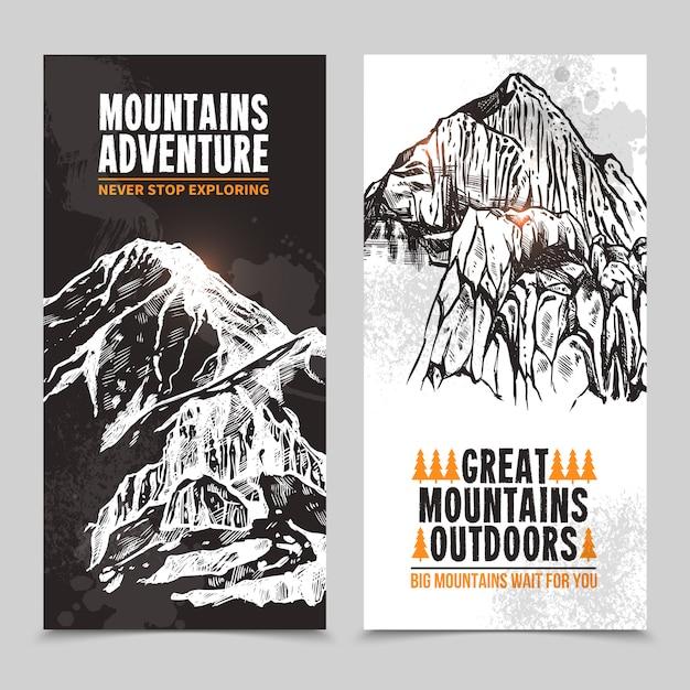 山岳観光2つの垂直バナー 無料ベクター