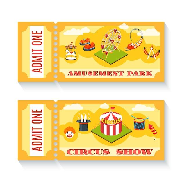 ビンテージ遊園地チケット2枚セット 無料ベクター