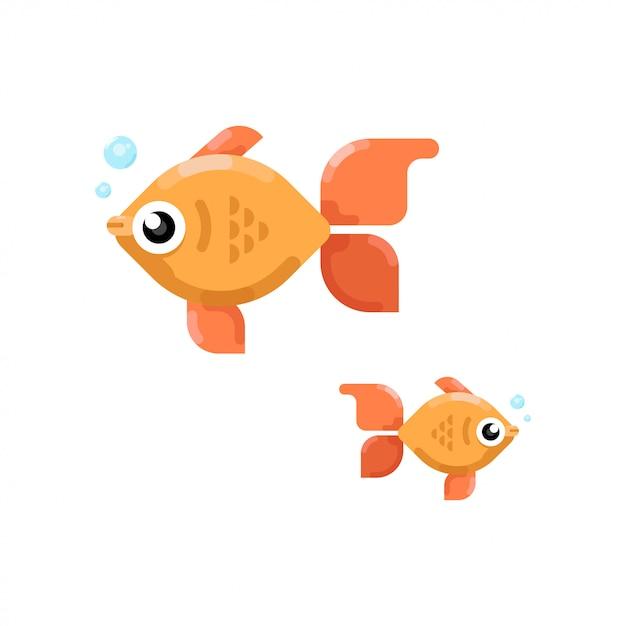 2つのかわいい小さな魚のフラット Premiumベクター