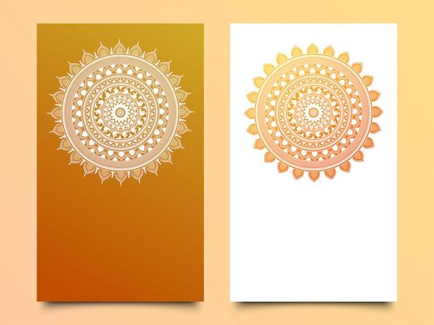 光沢のある曼荼羅のデザインは、2つの異なる色のオプションです。 Premiumベクター