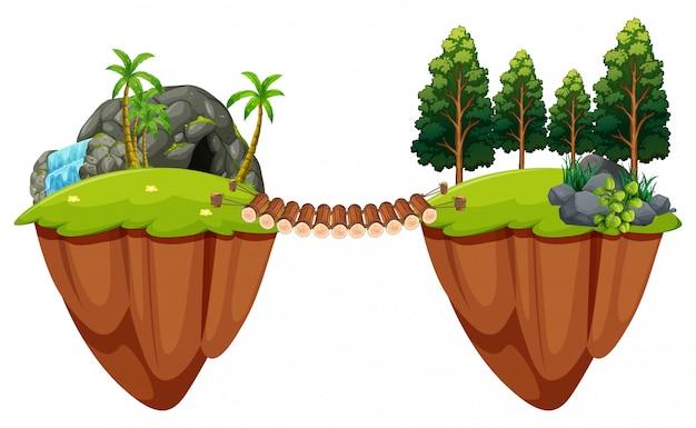 木々の橋が2つの島に接する 無料ベクター