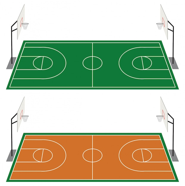バスケットボールコート2面セット 無料ベクター