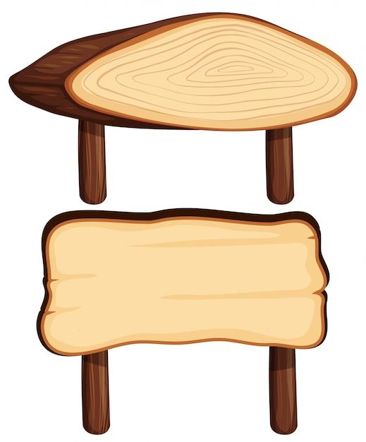 木の棒に2つの木製看板 無料ベクター