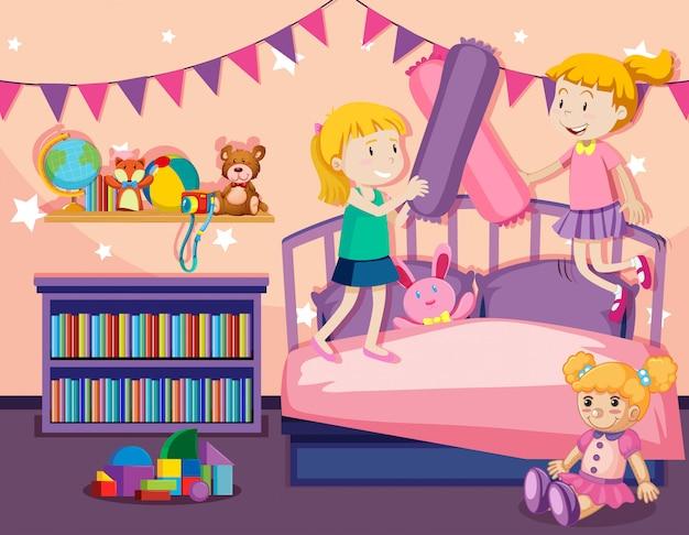 2人の女の子がベッドの上をジャンプ 無料ベクター