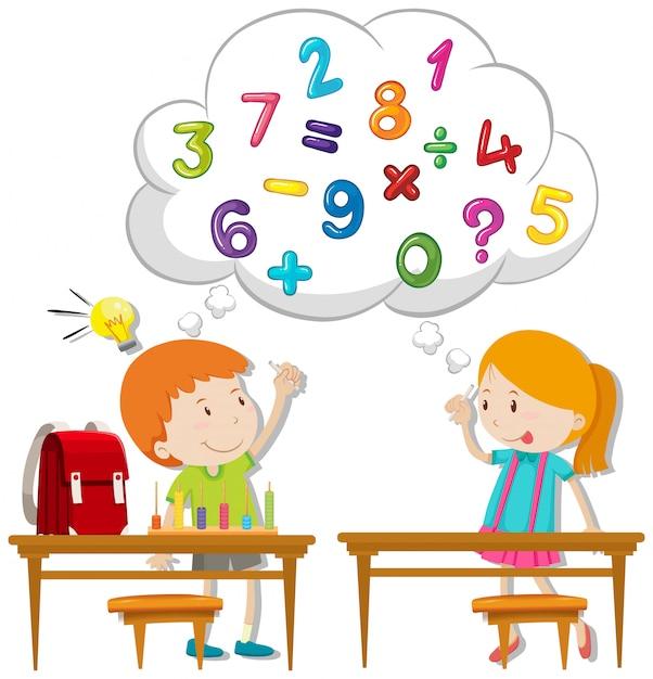 2人の子供が教室で計算する 無料ベクター