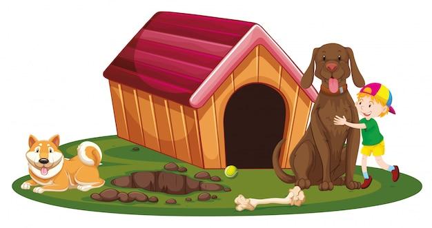 犬小屋で2匹の犬と少年 無料ベクター