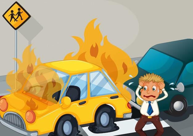 2台の車が燃えている事故現場 無料ベクター