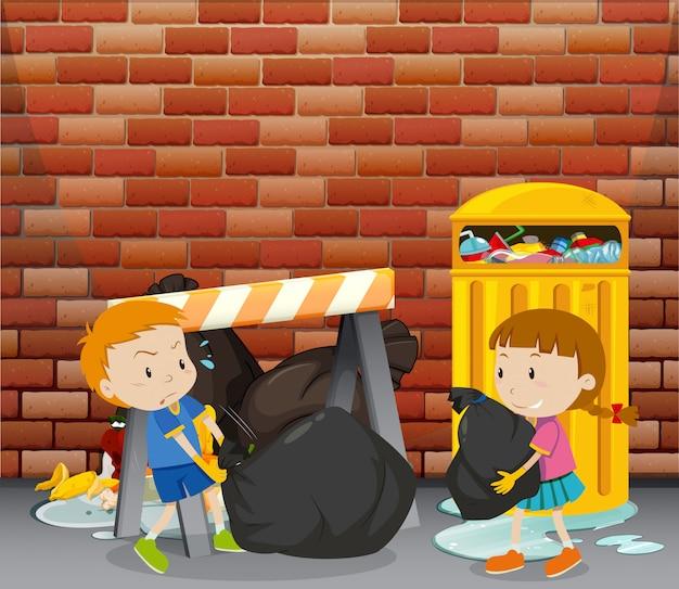ゴミ箱でゴミを捨てる2人の子供 無料ベクター