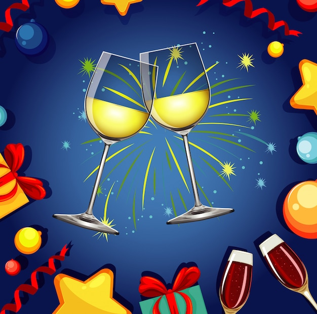 シャンパンと花火を2杯 無料ベクター