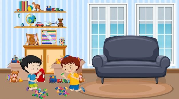 リビングルームで遊ぶ2人の男の子とのシーン 無料ベクター