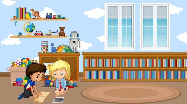 2人の子供が教室で本を読んでいるシーン 無料ベクター