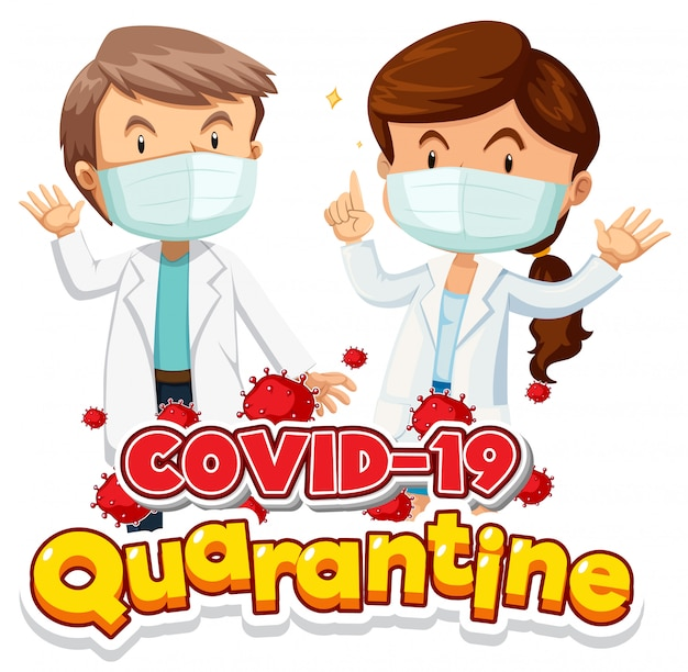 マスクを着用した2つのドクトを使用したコロナウイルスのポスターデザイン 無料ベクター