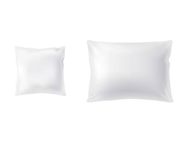 2つの白い枕のセット、正方形と長方形、柔らかく清潔 無料ベクター