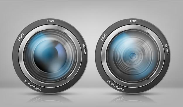 2つのカメラレンズを備えた現実的なクリップアート、ズーム付き写真の目的 無料ベクター